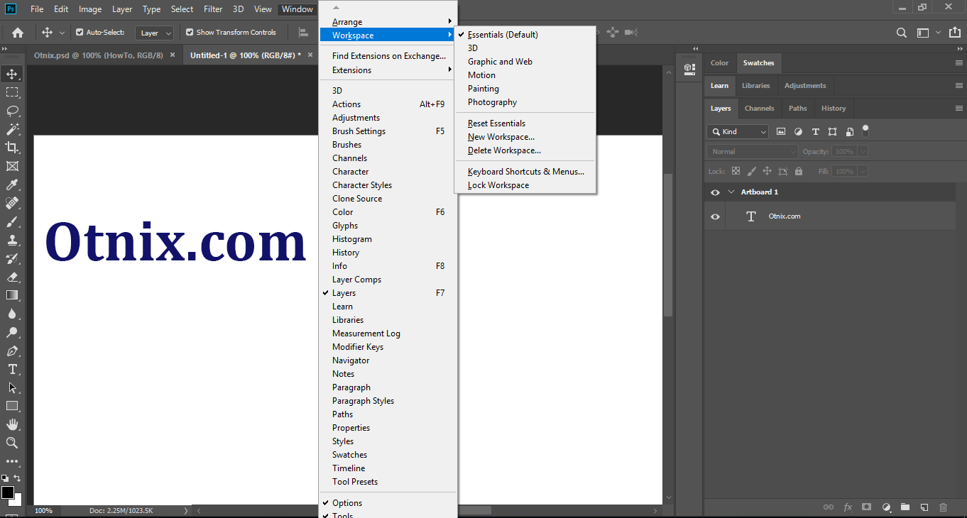 Using Workspace in Photoshop